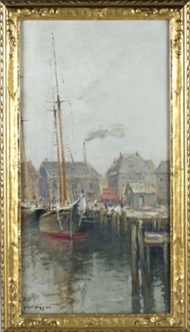 a genre painting of a ship dock by guy carleton wiggins
