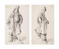 two studies of men in oriental costume (2 works) by johannes lingelbach
