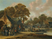 a village market scene by salomon rombouts