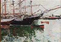 boats in a harbour by viacheslav korenev-novorossiiskii
