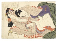 four oban shunga prints from the album ehon tsui no hinagata (patterns of loving couples) (4 works) by katsushika hokusai