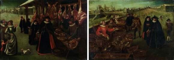 scènes de marché en hiver pair by lucas van valkenborch