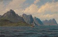 seilskute og dampbåt ved kysten by zackarais martin aagaard