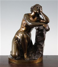 figure of a kneeling woman, disconsolate ariadne by aimé millet