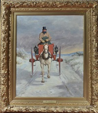 a king's mail - a horse trap on a winter road by william barraud