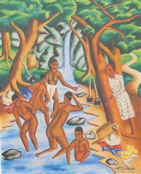 bathers in a stream by castera bazile