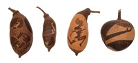 a group of four boab carved nuts by basil albert
