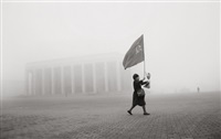 woman with the flag, minsk (belarus) by andres liankevich