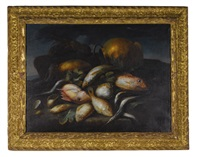 still life of saltwater fish, a lobster, and a brass pot upon a sea shore by elena recco