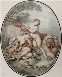 diana mit zwei nymphen und einem eroten (after j. b. huet) by gilles-antoine demarteau