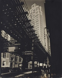 el, 2nd and 3rd avenues lines: hanover square and pearl street, manhattan by berenice abbott