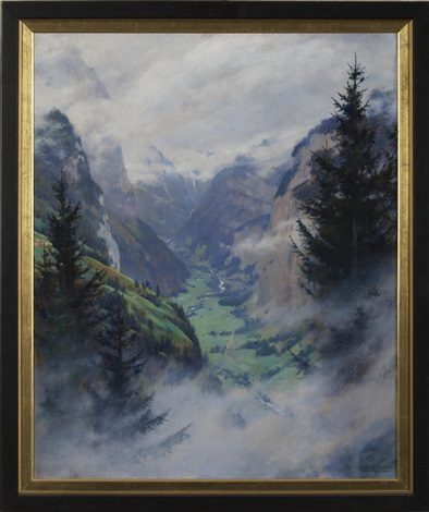 mountainous landscape with valley and waterfall by charles courtney curran