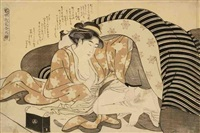 oban yoko-e, imayo irokumi no ito, méthodes de séduction en vogue, deux amants s'adonnant au plaisir de l'amour enveloppé de riches kimono rayé by katsukawa shuncho