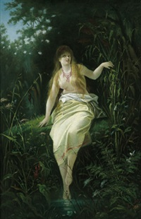 waldfräulein am bachufer by auguste