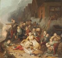 schlachtszenerie in einer belagerten stadt by karl friedrich lessing