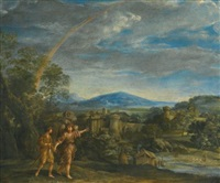 tobias and the archangel raphael in a landscape by giovanni francesco romanelli