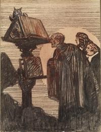 des écclésiastiques devant un lutrin by maxime dethomas