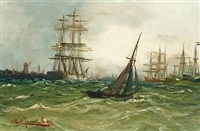 seascape with numerous sailing ships outside a port by alfred jensen