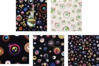 jellyfish eyes; jellyfish eyes cream; jellyfish eyes - black 1; jellyfish eyes – black 3; and jellyfish eyes – black 5 (5 works) by takashi murakami