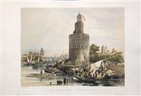 torre del oro en sevilla by genaro perez villaamil