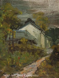 cottages beside a path by theodore robinson