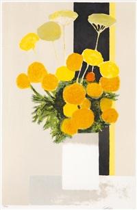 roses dinde et achillees a la bande noire by bernard cathelin