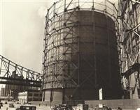 gas tank and queensboro bridge, east 62nd street and york avenue, manhattan, october 9 by berenice abbott