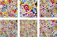 such cute flowers; and flowers blossoming in this world and the land of nirvana (x 5) (6 works) by takashi murakami