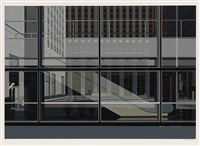 manhattan (horizontal ul 3 escalator) (from urban landscapes iii) by richard estes