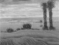 middle eastern coastal landscape with figures by argye leo peysack