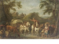 travellers on horseback with cattle and sheep by pieter van bloemen