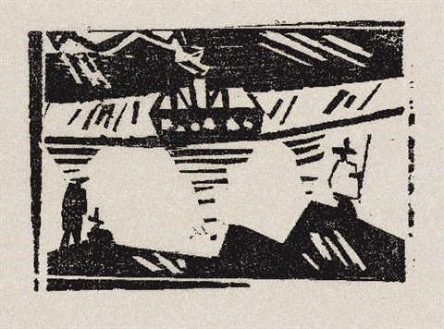 angler und dampfer by lyonel feininger