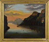 hudson river scene, sabbath day, lake george by thomas chambers