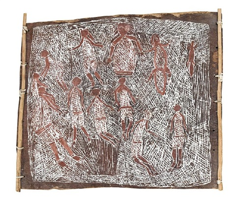 men and women at sacred place of the early dreamtime by lofty narbardayal nadjamerrek
