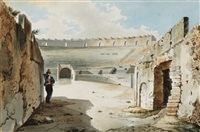 italian view (+ nobleman at the walls of colliseum; 2 works) by luigi premazzi