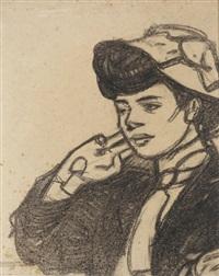 tête de jeune femme au chapeau, vue de profil vers la gauche by maxime dethomas