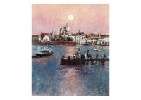 moon in venice and susana roma (2 works) by yoshihiko wada