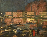 violonniste sur le port de naples by lucien simon