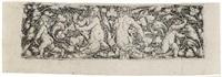 ornament mit blattranken, tritonenpaar und zwei kindern by heinrich aldegrever