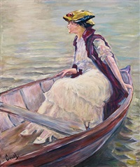 dame in einem boot by edward cucuel