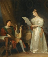 interior with a man holding a lyre and a woman with a music score by marguerite gérard