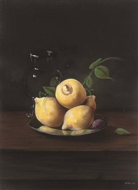 lemons and a plum on a silver platter, with a glass jug to the side by paul karslake