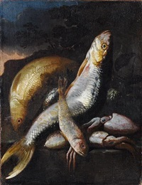a carp, a mullet, squid and other fish on a stone ledge before a landscape by elena recco