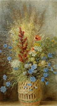 feldblumen in korbvase by carl massmann