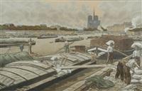 notre dame vue du quai d'austerlitz (from paysages parisiens) by henri rivière