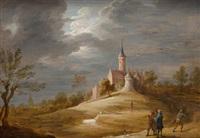 figuras en paisaje con castillo by abraham teniers