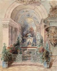 blick auf einen barocken altar by anton altmann the younger