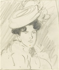 two portrait studies of jean maconochie and two sketches of parisiennes (4 works) by john duncan fergusson