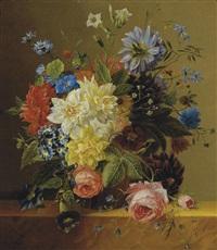 an opulent flower still life by arnoldus bloemers