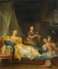 a family in an interior playing with a dog by marguerite gérard